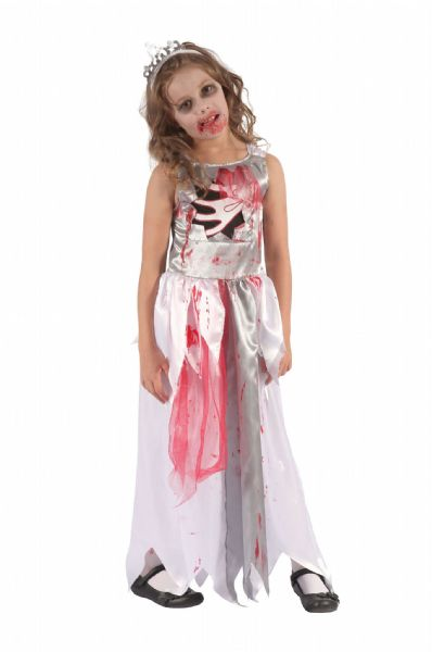 Girls Bloody Zombie Queen Costume Bleeding Wound Vampire Fancy Dress Outfit